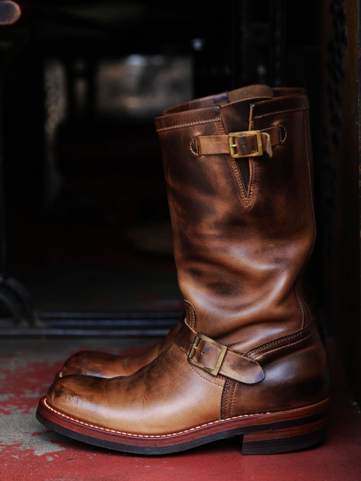 MOTOR CHROMEXCEL LEATHER 1ST MODEL ENGINEER BOOTS NATURAL ( 3 years age )