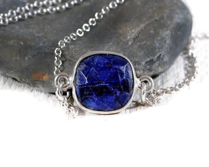 Tiny Sodalite Bezel Necklace. Sterling Silver Blue Square Gemstone Necklace. Minimalist Sideways Gemstone Necklace. GSminimal Jewelry.