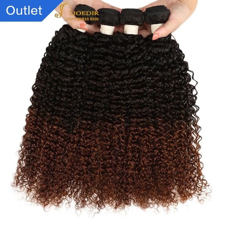 Joedir Pre-colored Malaysian Curly Hair Extensions 4 Bundles 1b 4 30 Brown Ombre Human Hair Weave Non-remy Afro Kinky Curly Hair