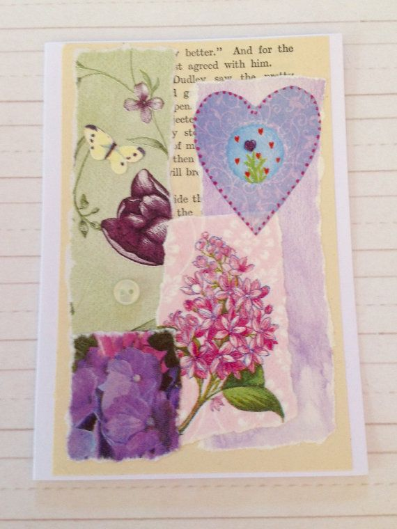 Pretty Floral Handcrafted Card for by LinLovesPaper on Etsy