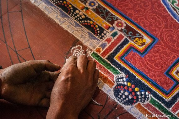 Creation of tibetan buddhism colourful sand mandala handmade by a monk in Leh, capital of Ladakh, India - art / boho / asian / photo / wall decor / tibet / home decor  https://www.etsy.com/listing/216816247/creation-of-tibetan-buddhism-colourful