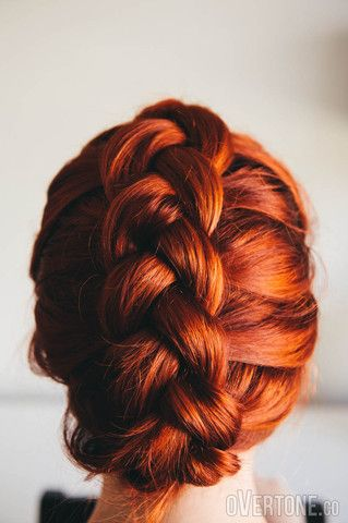 Gorgeous red-orange hair with an awesome braided style  Dutch Braid Tuck Updo | Overtone Haircare