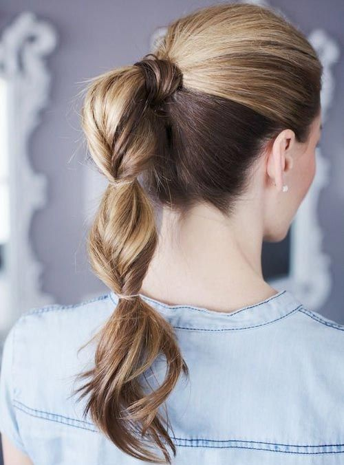 Twisted Ponytail - Combine twistanda bubble ponytail together for a unique hairstyle. Putting of this cute ponytail is quite simple. Sweep all of your hair back into a ponytail. Twist small section of your ponytail and add a clear elastic. Twistas many as youwant/can.