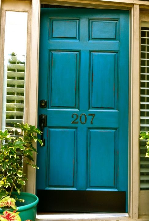 My front door, Caribbean Splash by Olympic paint with a mocha glaze by Valspar