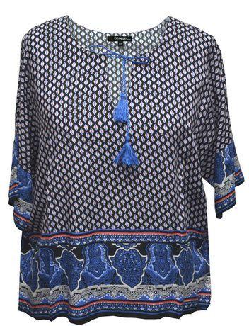 Walmart, George Women's Kimono Sleeve Popover Top, Blue, $17.97, • Material : 100% Rayon  • Kimono sleeve • Border print • Tassel trim  • Washable