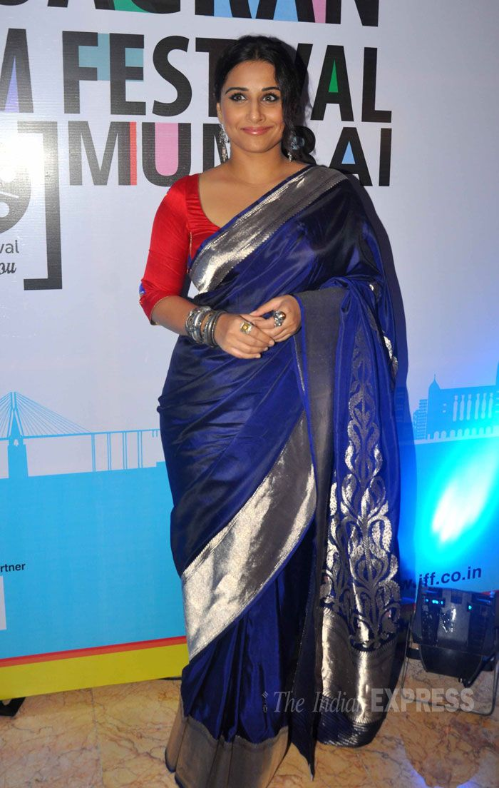 Vidya Balan gave us a flashback in a silk Raw Mango sari with a red blouse and an updo at 5th Jagran Film Festival launch party.
