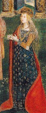 Lucrèce Borgia par le Pinturicchio, 1492-1494- Lucrèce Borgia: 1° femme de Giovanni Sforza (1493), elle épouse ensuite Alphonse, duc de Bisceglie (1498) qui est assassiné par César l'année suivante, puis Alphonse d'Este, duc de Ferrare. La mort d'Alexandre VI et de César lui permet de mener une vie paisible et elle fait de la cour de Ferrare un centre de poètes, de peintres et d'humanistes.