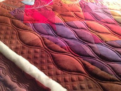 Sewing & Quilt Gallery--crosshatch with 3 lines of stitching between, great idea