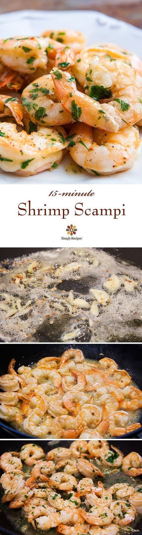 Shrimp Scampi ~ Quick and easy shrimp scampi, shrimp sautéed with garlic in butter, olive oil, and white wine, tossed with red pepper flakes and parsley. Takes only 15 minutes! On http://SimplyRecipes.com