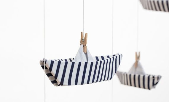 MOBILE HANGING BOATS / Baby Decoration / Fabric Origami Mobile / Blue and white strips / Mobile via Etsy