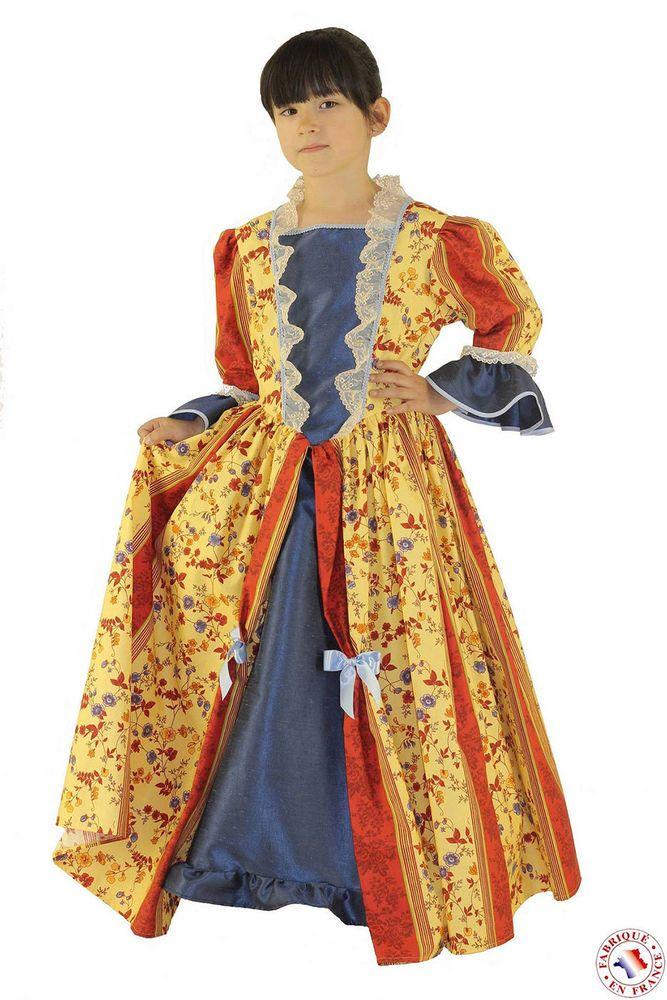 Déguisement Marquise jaune et rouge à motifs floraux fille Taille 3 à 5 ans