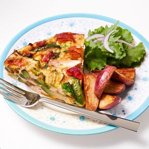 Roasted Veggie Frittata  139 calories, 11g protein, 8g carbohydrate, 7g total fat (2g saturated), 2g fiber