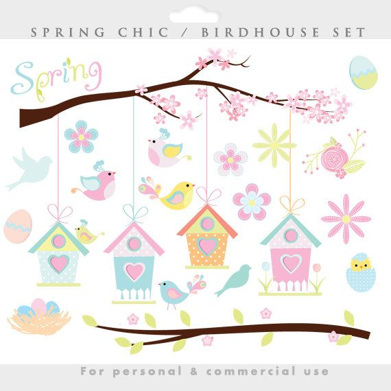 Spring clipart bird birdhouse
