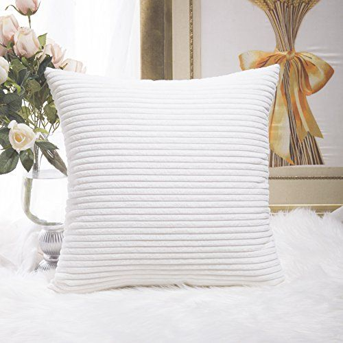 Home Brilliant Striped Corduroy Euro Throw Pillow Sham Couch Cushion Cover for Teen Girls, 24 x 24 inch (60cm), White  FEATURES: Color: White. Measures: 24x24 inch (60x60cm), tailored for 26x26 inch insert.  PACKAGE: include 1 pc cushion cover. No cushion insert.  WASHING GUIDE: Machine Wash Cold Separately, Gently Cycle Only, No Bleach, Tumble Dry Low.  EASY INSERTION: we use matching shade invisible zipper closure for an elegant look, easy insertion and washing.  HOME BRILLIANT is a ...