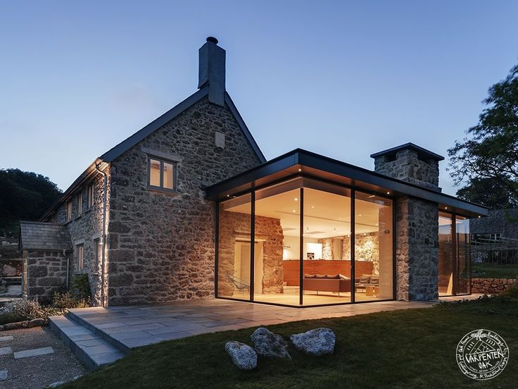 Modern Farmhouse Exterior Design Ideas Glass Extension Stone Cottages And Steel Frame
