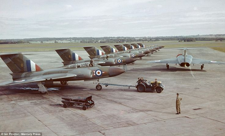 Formation: Javelins of 46 Squadron lined up neatly on the hard surface of RAF Odiham in July 1956. 'Even at the height of the Cold War, the armed forces were not immune to cuts,' Mr Proctor said. 'A number of defence reviews were undertaken during the period'