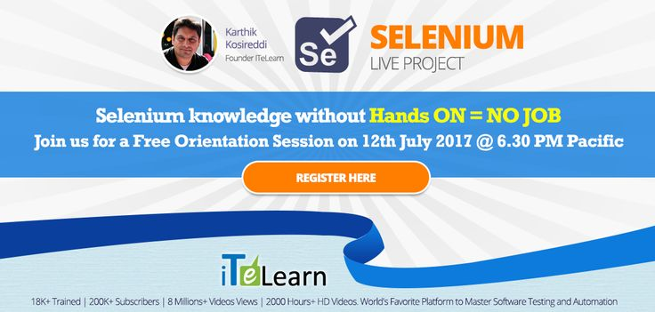 Here is the #opportunity for you to get a #RealTime project #experience and gain confidence to face real-time #projects and #interviews. Date & Time: 12th July at 6.30 PM Pacific./7.00 AM IST (13th Jul) Register here- http://itelearn.com/selenium-july-project