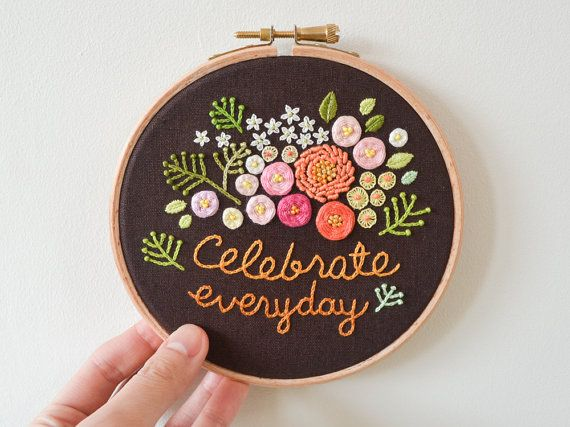 Celebrate Everyday Hand-stitched Bouquet of Flowers Embroidery
