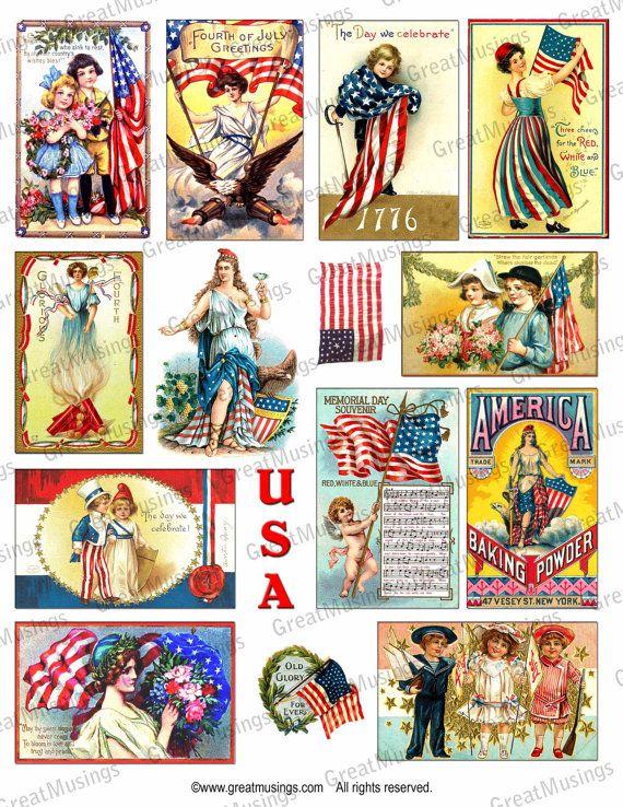 Vintage July 4th Independence Day Digital Collage Sheet Images
