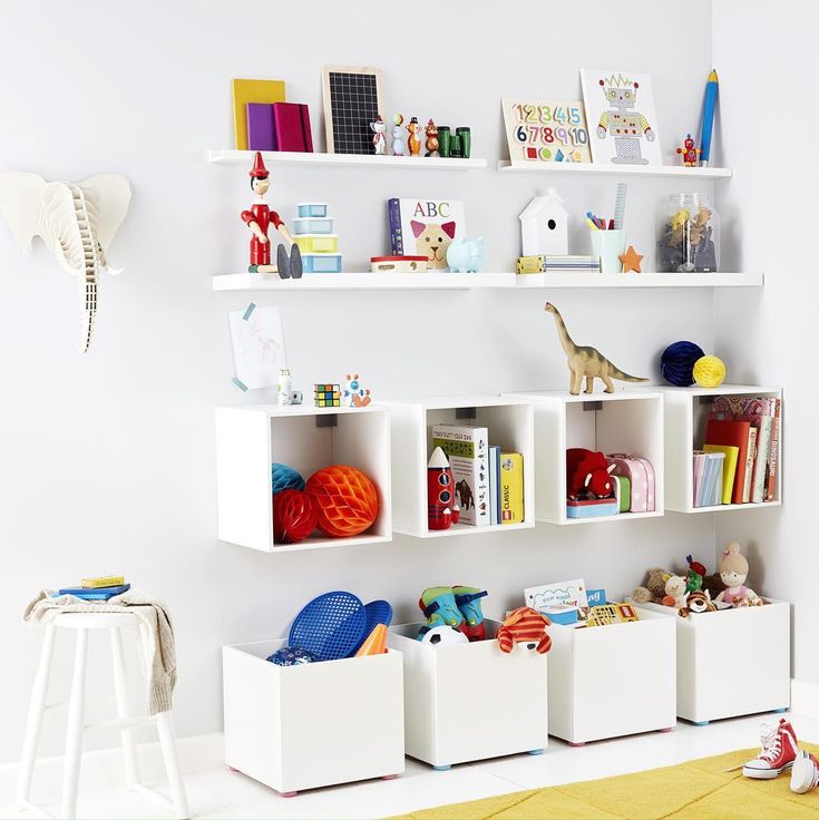 Handy storage ideas for kids' rooms courtesy of B&Q. Great tip for wall boxes to make tidying away a super speedy activity.