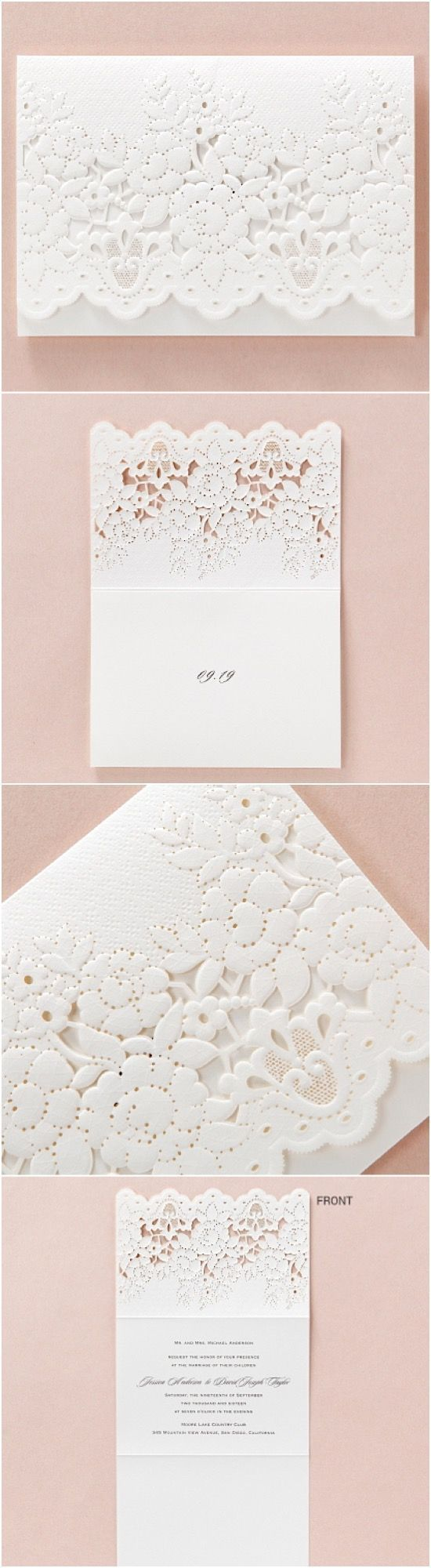 vintage wedding invitation text%0A Lace embossed lasercut wedding stationery by B Wedding Invitations