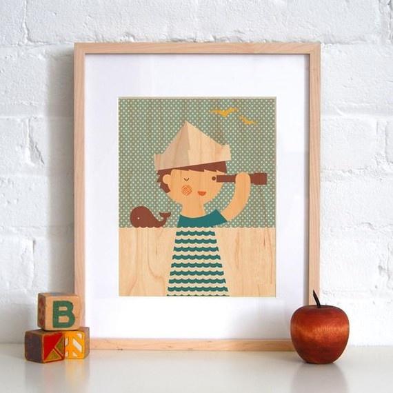 sailor wall art: 8X10 Sailor, Kids Room, Boys, Baby, Sailors, Woods