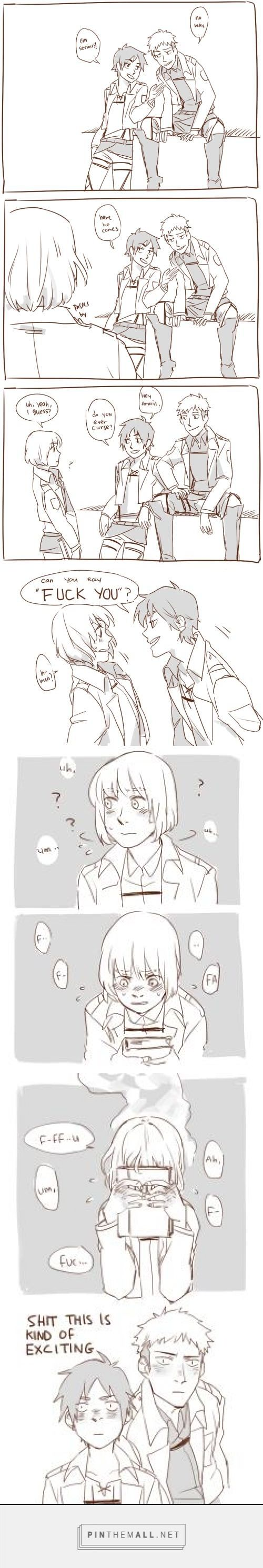 Eren tries to get Armin to curse (Attack on Titan) 1/2 Source: http://mirrorshards.tumblr.com/post/61273256063/i-came-back-with-more