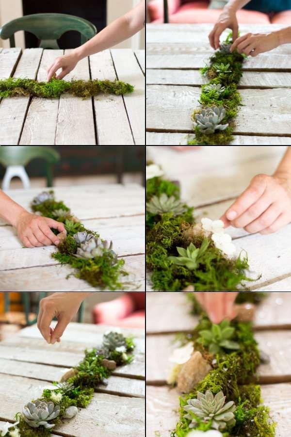 Décoration de table avec de la mousse et des succulentes