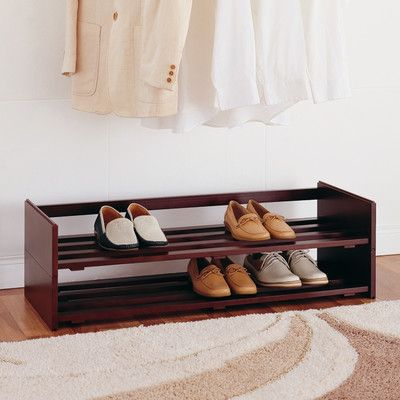 "Features:  -Conveniently organize many pairs of shoes.  -Wood construction.  -Mahogany finish.  Finish: -Mahogany.  Material: -Wood. Dimensions:  Overall Height - Top to Bottom: -11"".  Overall Width -"