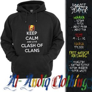 hoodie sweater jumper keep calm and clash of clans print rubber 1 sisi abu-abu / putih / hitam