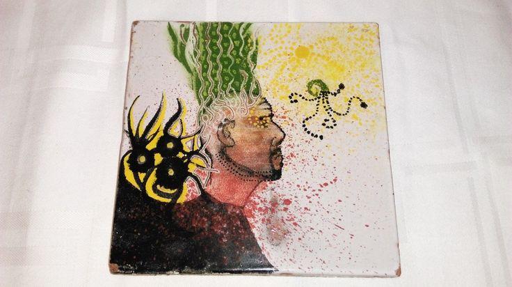 D tails sur tableau abstrait peint sur carreau de faience Peindre de la faience
