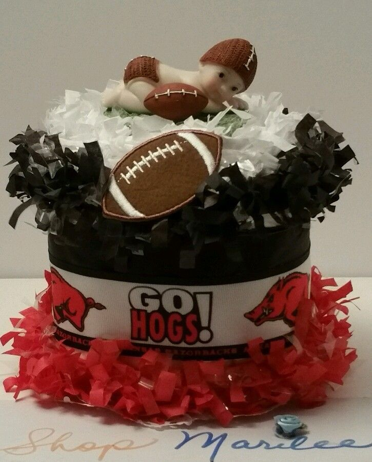 Football Baby Shower Diaper Cake Topper Birthday Decoration Arizona Razorback