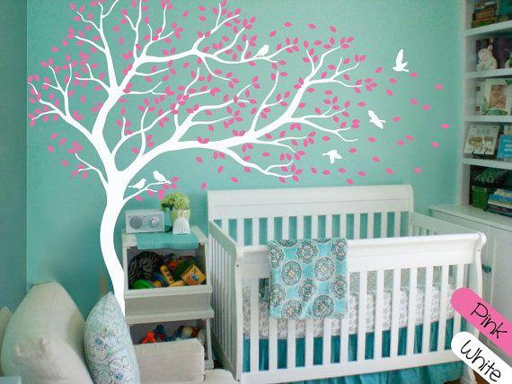 Lovely Wei e Wand Aufkleber Wand Kunst Dekor riesige Baum Wand Decals gro e Wand Wandbild Aufkleber Baumschule Wanddekoration
