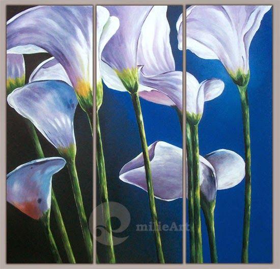 Lukisan Bunga Lily Putih 3 Panel