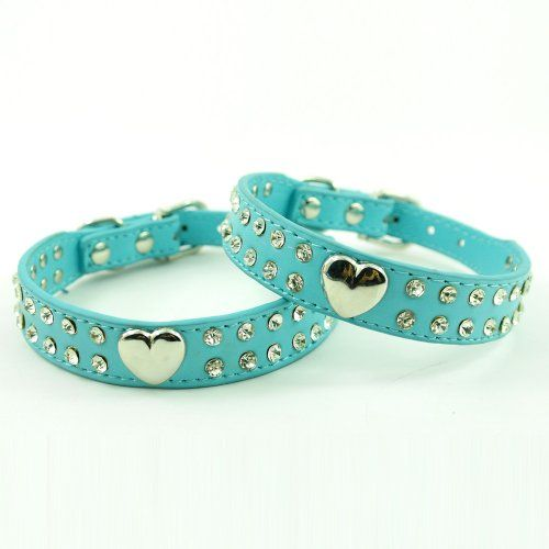 Namsan Fashion Soft Pu Leather Sweet Heart Charm 2 Rows Bling Rhinestones Puppy Dog Collar Crystal Pet Collar - http://www.thepuppy.org/namsan-fashion-soft-pu-leather-sweet-heart-charm-2-rows-bling-rhinestones-puppy-dog-collar-crystal-pet-collar/