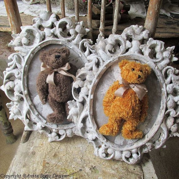 Framed teddy bear set wall hanging shabby cottage chic vintage stuffed bears in ornate gesso frames farmhouse home decor anita spero design