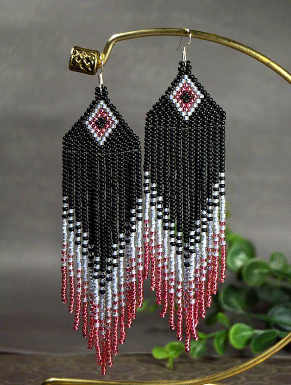 Long Beaded Earrings Seed Bead Earrigs Matte Black Gray Rose