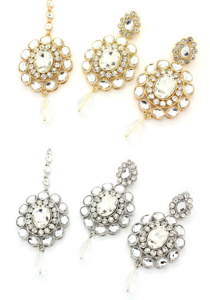 36 best tikka images on pinterest india jewelry american indian diamante stone indian bollywood tikka chandelier earring set bridal wedding aloadofball Choice Image