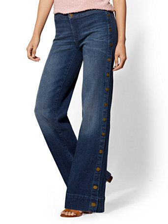 de35c3507f6 Shop Soho Jeans - Side-Snap Wide Leg - Indigo. Find your perfect size  online at the best price at New York & Company.