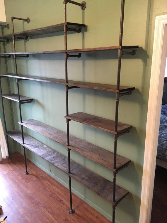 8 foot wooden pipe shelf in 2019 products pipe shelves shelves rh pinterest com