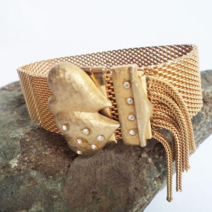 Gold Mesh vintage Bracelet Puffy Hearts Crystals Tassel Adjustable Bestie Bridal Retro 60s Cuff Bangle Slide Gift Movie Prop Decor by…