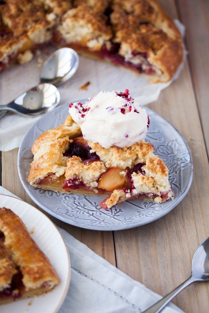 This Raspberry Peach Gallette with Cobbler Topping is a free form tart with a peach cobbler inside