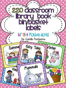 220 Classroom Library Book Bin / Basket Labels {Bright Pol