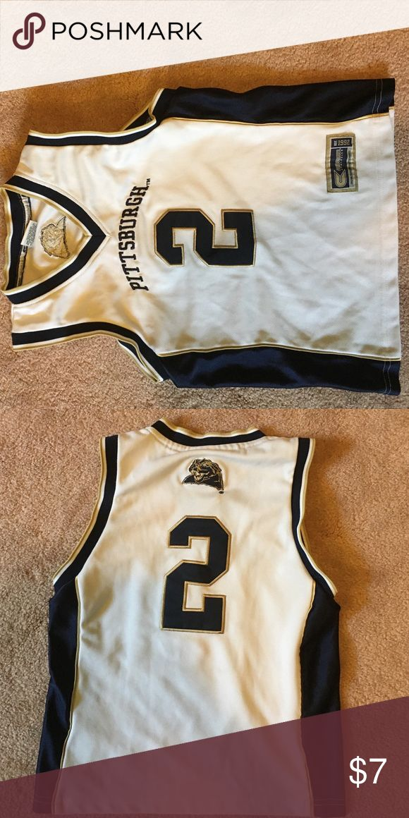 "PITT basketball jersey NWOT PITT basketball jersey. Size is a ""women's small"" but I bought it as a children's small. It was perfect. (Its smaller than a women's small) No smoking home. Shirts & Tops Tank Tops"