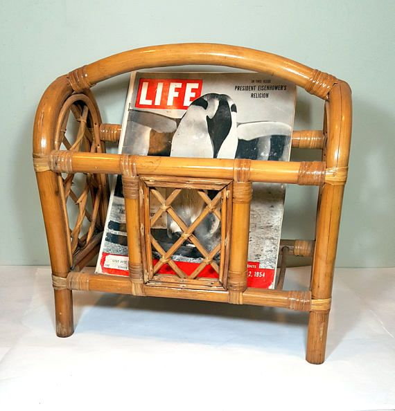 VINTAGE MAGAZINE RACK Bamboo Rack Mid Century Asian Decor News Rack French Rattan Style Retro Magazine Holder Hollywood Regency decor