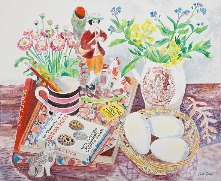 "Emily Sutton's ""Still Life with Eggs"" which features in her 2014/2015 Yorkshire Sculpture Park exhibition http://www.stjudesfabrics.co.uk/blogs/news/15661825-emily-sutton-at-yorkshire-sculpture-park"