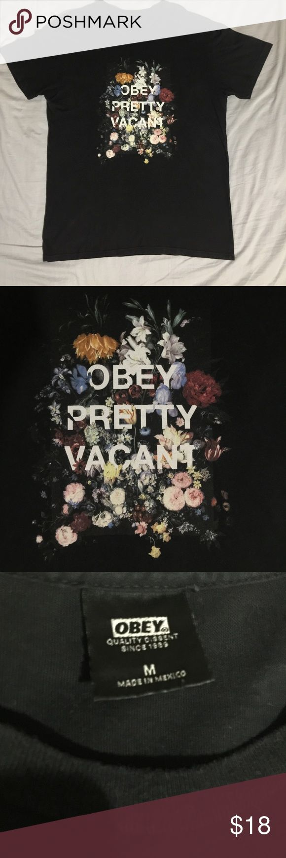 "Obey tee shirt Obey black floral tee shirt ""OBEY PRETTY VACANT"". Dope shirt to combine with different shoe colors. 100% cotton. from Pacsun. as usual; Washed, dried and ironed before shipping. PacSun Shirts Tees - Short Sleeve"