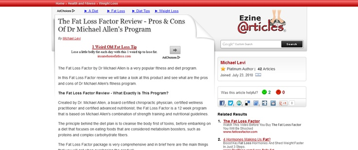 The Fat Loss Factor Review - Pros & Cons Of Dr Michael Allens Program --> http://ezinearticles.com/?The-Fat-Loss-Factor-Review---Pros-and-Cons-Of-Dr-Michael-Allens-Program=5001654