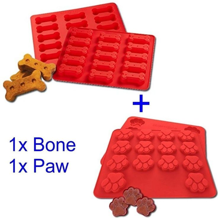 Dog Treats Silicone Cookie Cake Pan Mould Set Of 2 Bone Shaped