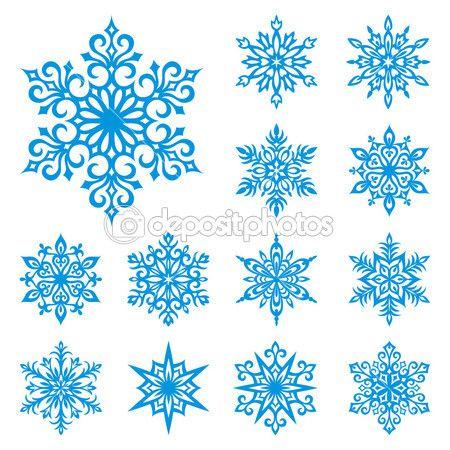 Vector conjunto de copos de nieve — Vector de stock © rosinka #2517387